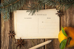 Postcards with star anise , mandarin , fir tree and pencil Royalty Free Stock Photography