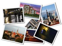 Postcards with Tallinn landmarks. Images with Tallinn city landmarks isolated on white background, Estonia royalty free stock images