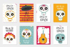 The postcards with traditional sugar skulls. Vector hand drawn illustration of Mexican holiday `Day of the Dead`. The postcards with traditional sugar skulls