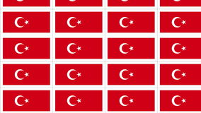 Postcards with Turkish national flag looped stock footage
