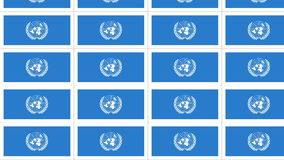 Postcards with United Nations flag looped. Sheet of postcards with international flag of UN. Symbol of United Nations Organization. Seamless loop stock video footage