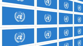 Postcards with United Nations flag looped. Sheet of postcards with international flag of UN. Symbol of United Nations Organization. Seamless loop stock video