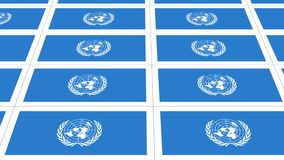 Postcards with United Nations flag looped. Sheet of postcards with international flag of UN. Symbol of United Nations Organization. Seamless loop stock footage