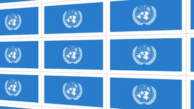 Postcards with United Nations flag. Sheet of postcards with international flag of UN. Symbol of United Nations Organization stock video