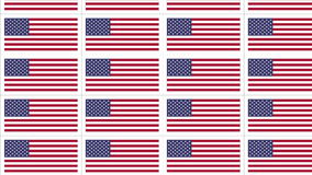 Postcards with United States national flag looped. Sheet of postcards with national flag of USA. Sate symbol of United States nation and government. Seamless stock video footage
