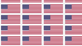 Postcards with United States national flag looped. Sheet of postcards with national flag of USA. Sate symbol of United States nation and government. Seamless stock footage