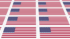 Postcards with United States national flag looped. Sheet of postcards with national flag of USA. Sate symbol of United States nation and government. Seamless stock video