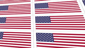 Postcards with United States national flag stock video