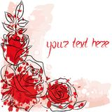Postcart with rose 2. Postcart with red and white rose Royalty Free Stock Photo