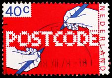 Postcode, serie, circa 1978. MOSCOW, RUSSIA - FEBRUARY 20, 2019: A stamp printed in Netherlands shows Postcode, serie, circa 1978 royalty free stock image