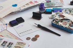 Postcrossingsstilleven stock afbeeldingen