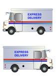 Postdienst-LKW, lokalisiert, Vektorillustration Stockbild
