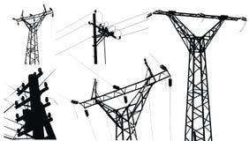 Poste de alto voltaje de la electricidad Imagen de archivo libre de regalías