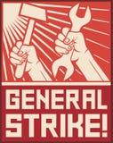 Poste de la huelga general Imagenes de archivo
