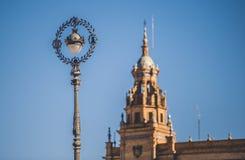 Poste de la lámpara del metal, Plaza de Espana imagen de archivo libre de regalías