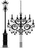 Poste de la lámpara y de la lámpara Imagen de archivo libre de regalías
