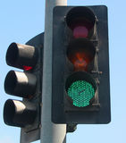 Poste de la luz verde Fotografía de archivo