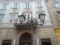 Poste de luz histórico em uma avenida de Trieste Fotografia de Stock