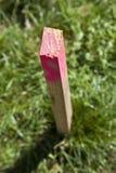 Poste de madera para la encuesta sobre el campo Fotos de archivo