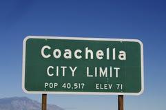 Poste de muestra de Coachella en California Foto de archivo libre de regalías