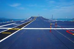 Poste de pilotage d'un porte-avions Photos stock