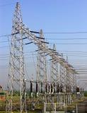 Poste de potencia, encuesta de la potencia, electricidad Imagen de archivo libre de regalías