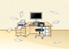 Poste de travail dans le bureau Images stock
