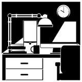 Poste de travail de bureau noir et blanc Photographie stock libre de droits
