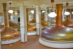 Poste della poltiglia utilizzate per produrre birra Immagini Stock