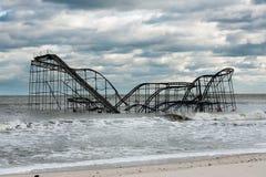 Poste-Huracán Sandy de las alturas NJ de la playa Imagen de archivo