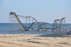 Poste-Huracán Sandy de las alturas NJ de la playa Fotografía de archivo libre de regalías