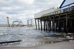 Poste-Huracán Sandy de las alturas NJ de la playa Fotos de archivo libres de regalías