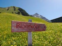 Poste indicador a Biberkopf imagen de archivo libre de regalías