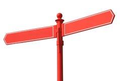 Poste indicador de dos vías rojo en blanco. Foto de archivo libre de regalías