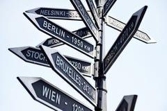 Poste indicador de las capitales de Europa Foto de archivo