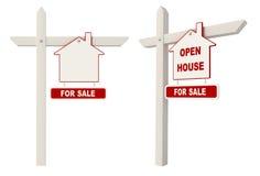 Poste indicador de las propiedades inmobiliarias - casa abierta Imagen de archivo