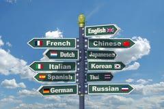 Poste indicador de los lenguajes Foto de archivo libre de regalías