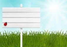 Poste indicador de madera en prado verde Imagen de archivo libre de regalías