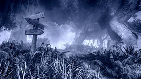 Poste indicador de madera en un bosque brumoso de la noche stock de ilustración