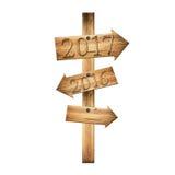 Poste indicador de madera 2017 y 2016 de los tablones marrones aislados en blanco Foto de archivo libre de regalías