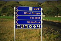 Poste indicador de Skogafoss Fotos de archivo