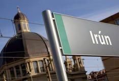 Poste indicador del nombre de la ciudad del ferrocarril Imágenes de archivo libres de regalías