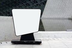 Poste indicador en blanco movible Foto de archivo libre de regalías