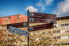 Poste indicador en la ciudad de Subotica, Serbia Imagen de archivo libre de regalías