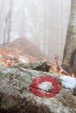 Poste indicador en una roca Imagen de archivo libre de regalías