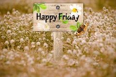 Poste indicador feliz de viernes Fotos de archivo libres de regalías