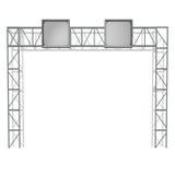 Poste indicador metálico de la puerta de la autopista con vector de la pantalla Fotografía de archivo