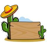 Poste indicador mexicano del cactus del sombrero ilustración del vector