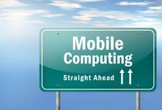 Poste indicador Mobile Computing de la carretera Ilustración del Vector