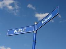 Poste indicador público y privado Imágenes de archivo libres de regalías